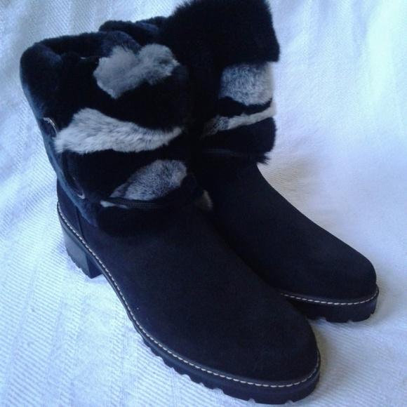 e1703f168711f Stuart Weitzman Black Suede Ankle Boots Rabbit Fur NWT